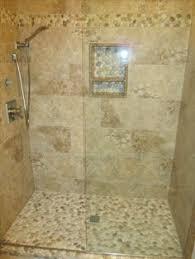 large white pebble tile shower pan 26 border strips use sliced