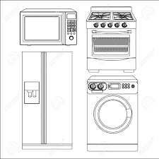 Set of Appliances contains washing machine stove microwave and refrigerator Stock Vector
