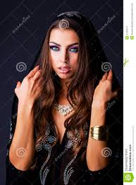 portrait of the young woman in black tunic arabic stock photo