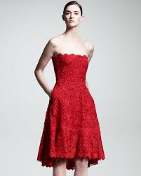 valentino voulant lace strapless dress in red lyst