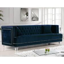meridian furniture 609navy s lucas navy tufted velvet sofa w