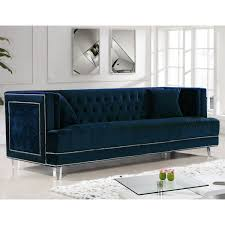 Tufted Velvet Sofa Bed by Meridian Furniture 609navy S Lucas Navy Tufted Velvet Sofa W