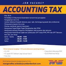 Lowongan Kerja Accounting Tax LokerJakartaid