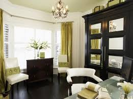 Graceful Dining Room Window Treatment Ideas With Golden Curtains