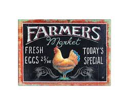 Creative Co Op Embossed Tin Farmers Market Wall Decor With Rooster Image