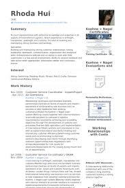 Customer Service Coordinator Import Export Air Operations Resume Samples