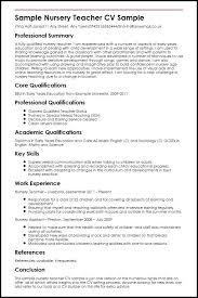Sample Of Education Resume Nursery Teacher Higher Administration