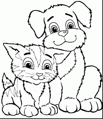 Good Cute Cat And Dog Coloring Pages Animal With Cartoon