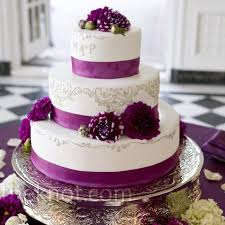Purple wedding cake Magenta Ribbon Cake