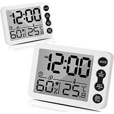 tooltoo thermometer hygrometer 2er set temperatur und feuchtigkeitsmesser raumthermometer wecker mit lcd monitor magnetische rückseite wecker für
