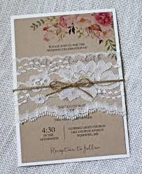 Boho Wedding Invitation Floral Rustic Lace Invites Shabby Chic Kraft