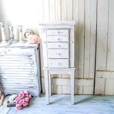 Tall Jewelry Box Shabby Chic Armoire White Cabinet Rustic Cream Big
