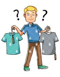 A Man Choosing Between Two T Shirts While Shopping Ambivalent Bazaar