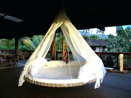 Round Hammock Swing Bed Outdoor With White And Brown Color