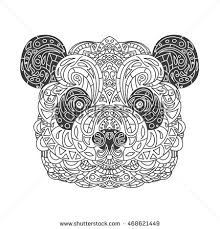 Vintage Vector Panda Head With Tribal Ornaments Traditional Ethnic Background Tattoo African