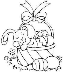 Bunny Sleeping In An Easter Basket Coloring Page