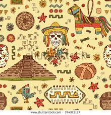 Mexico Vector Seamless Pattern Mexican Items