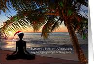 Yoga Christmas Beach Scene Card