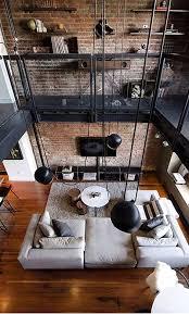 fantastische retro wohnzimmer design mit backstein wand