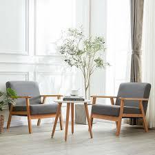 h j wedoo 2er setretro sessel stuhl für wohnzimmer schlafzimmer skandinavisches designsessel grau