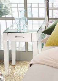 Mirrored Bed Side Table Glass Stand Bedroom Entry Way Contemporary