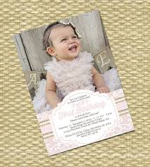 1st Birthday Invitation Burlap Lace Pearls First