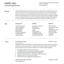 Resume For Catering Manager Sample Fast Food Restaurant Download Templates