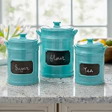 Turquoise Chalkboard Kitchen Canisters Set Of 3