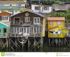 100 Houses In Chile Palafitos Castro Island Of Chiloe Stock Image