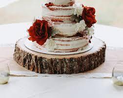 Wood Slab Cake Stand Slice Rustic