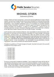 Public Service Resumes Statement Of Claims Example 2