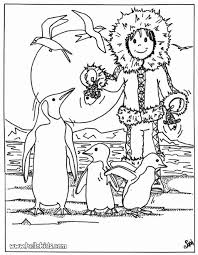 Penguin Friends Dancing Eskimo With Penguins Coloring Page