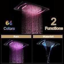 luxus led licht dusche kopf badezimmer spa duschköpfe edelstahl 580 380mm embedded decke regen dusche panel