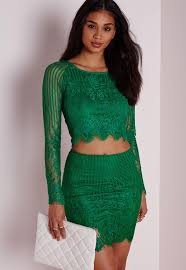 long sleeve striped lace crop top green missguided