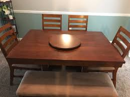 Rectangular Brown Wooden Dining Table With Chairs Set
