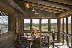Rustic Round Dining Table With Espresso Room Tables Porch And Lanterns Centerpiece