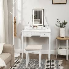 vasagle schminktisch mit hocker led beleuchtung in 3 farben frisiertisch mit spiegel und 5 schubladen kosmetiktisch mit abnehmbarem weiß rdt25wl