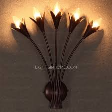 5 light flower shaped decorative bathroom wall sconce