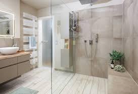 badezimmer mit großer dusche und sitzbank landhausstil