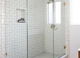 glass enclosed shower bathroom modern with ceramic tile floor