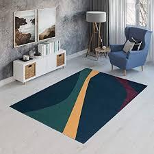 tapiso canvas teppich wohnzimmer kurzflor designer modern linien streifen abstrakt muster blau gelb grün rot jugendzimmer ökotex 120 x 170 cm