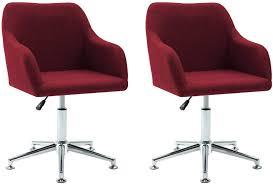 vidaxl 2x esszimmerstuhl drehbar bürostuhl drehstuhl schreibtischstuhl küchenstuhl sessel stuhl stühle essstuhl polsterstuhl weinrot stoff