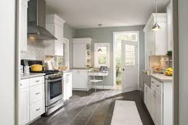 Modern Kitchen White Kitchen Cabinets Set With Grey Wall Colors