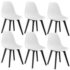 en casa 6x design stuhl 83 x 54 x 48cm weiß schwarz esszimmer stuhl stühle kunststoff im skandinavischem stil mit bodenschoner