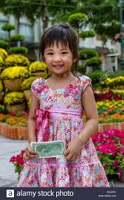 100 Chimin Little Girl Dressed For New Year Celebration Saigon Ho Chi Min