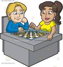 A Man And Woman Playing Checkers