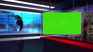 News TV Studio Set 34 Virtual Green Screen Background Loop Clip 39669827