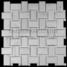carrara marble italian white bianco basketweave mosaic