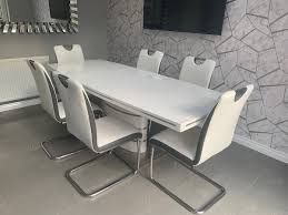 100 White Gloss Extending Dining Table And Chairs High Gloss Extending Dining Table 6 Chairs In S62
