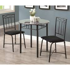 Round Kitchen Table Sets Walmart by Monarch Dining Set 3pcs Set Cappuccino Marble Bronze Metal
